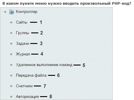 В каком пункте меню нужно вводить произвольный PHP-код?